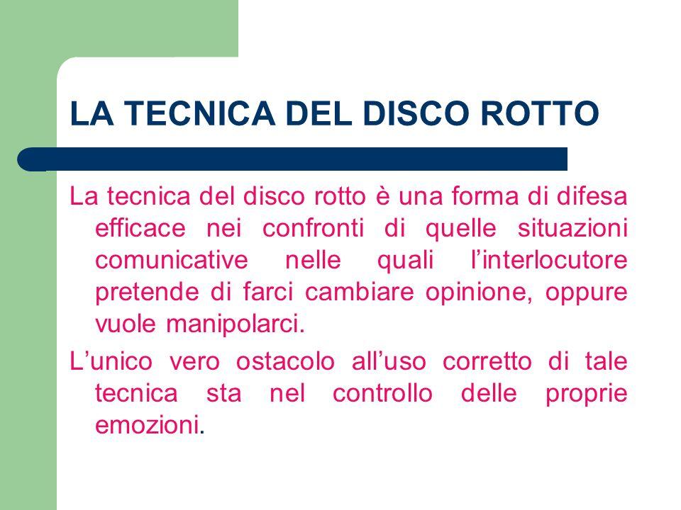 LA TECNICA DEL DISCO ROTTO La tecnica del disco rotto è una forma di difesa efficace nei confronti di quelle situazioni comunicative nelle quali linte