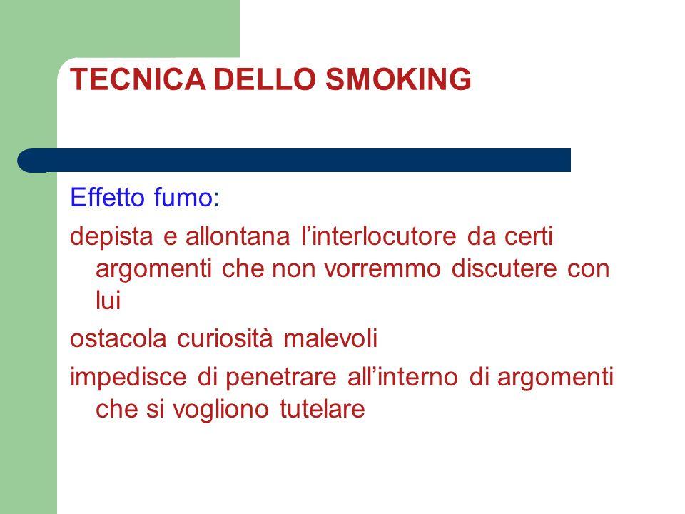 TECNICA DELLO SMOKING Effetto fumo: depista e allontana linterlocutore da certi argomenti che non vorremmo discutere con lui ostacola curiosità malevo