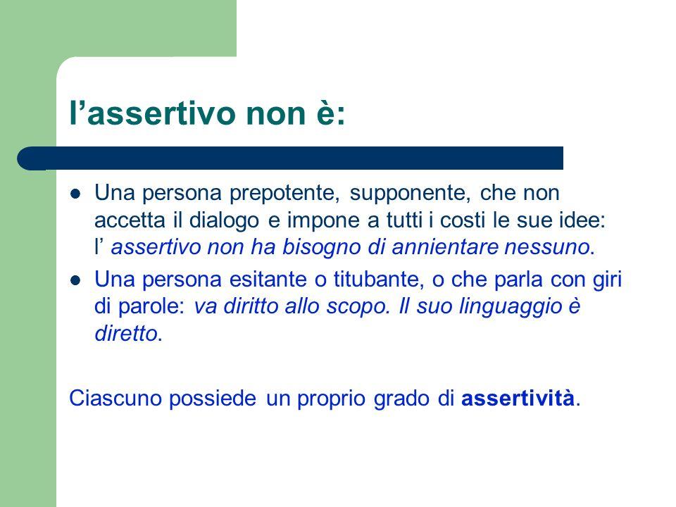 lassertivo non è: Una persona prepotente, supponente, che non accetta il dialogo e impone a tutti i costi le sue idee: l assertivo non ha bisogno di a