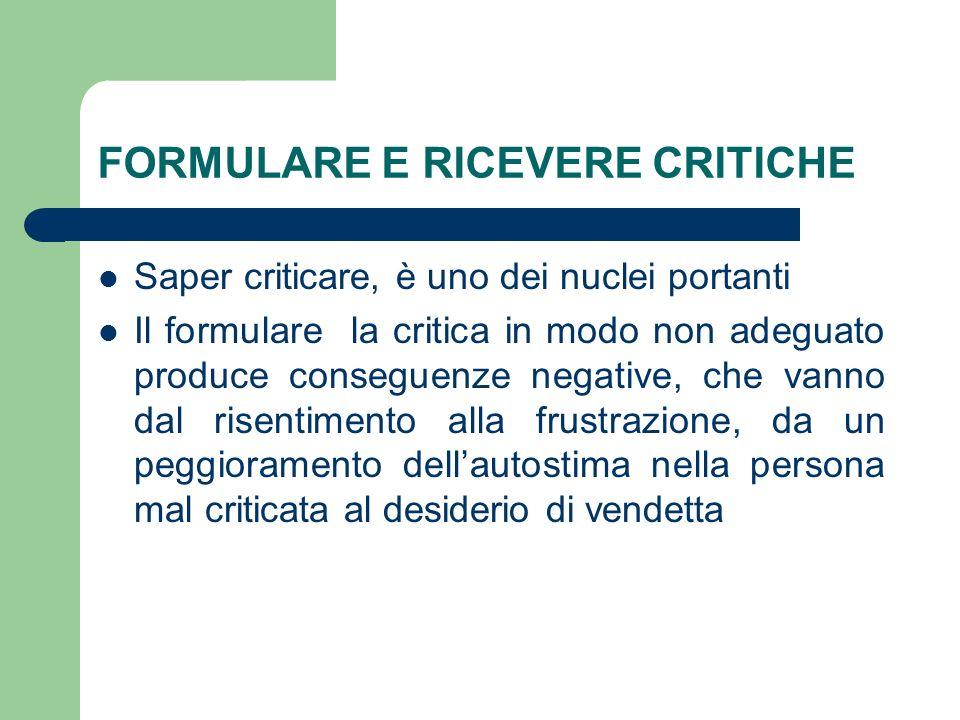 FORMULARE E RICEVERE CRITICHE Saper criticare, è uno dei nuclei portanti Il formulare la critica in modo non adeguato produce conseguenze negative, ch