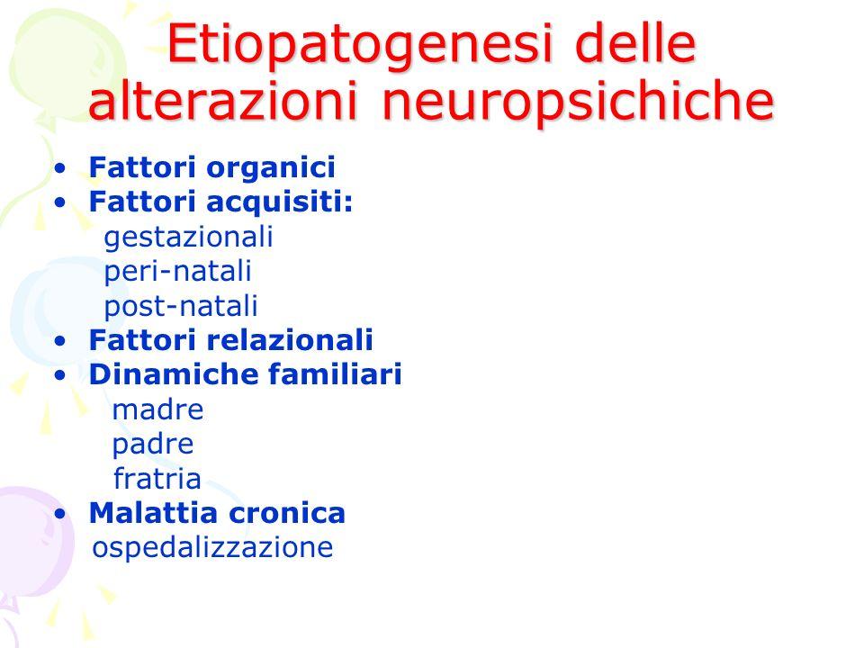 Etiopatogenesi delle alterazioni neuropsichiche Fattori organici Fattori acquisiti: gestazionali peri-natali post-natali Fattori relazionali Dinamiche familiari madre padre fratria Malattia cronica ospedalizzazione
