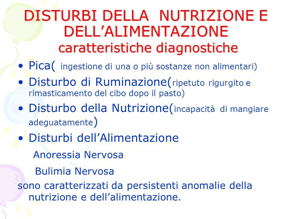DISTURBI DELLA NUTRIZIONE E DELLALIMENTAZIONE caratteristiche diagnostiche Pica( ingestione di una o più sostanze non alimentari) Disturbo di Ruminazione( ripetuto rigurgito e rimasticamento del cibo dopo il pasto) Disturbo della Nutrizione( incapacità di mangiare adeguatamente ) Disturbi dellAlimentazione Anoressia Nervosa Bulimia Nervosa sono caratterizzati da persistenti anomalie della nutrizione e dellalimentazione.