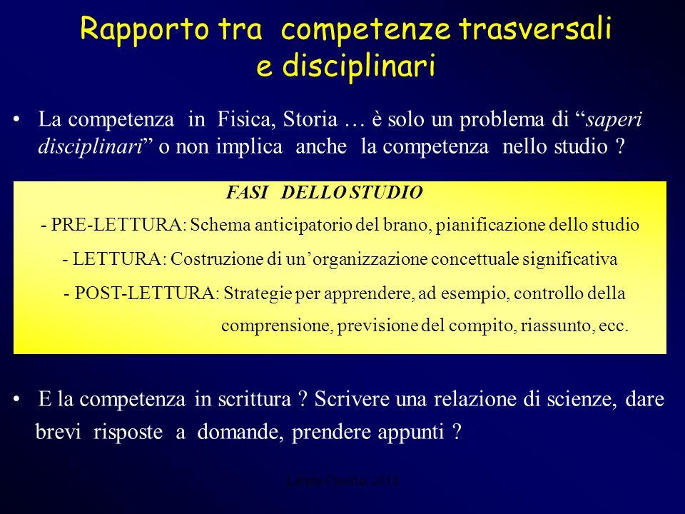 Lerida Cisotto, 2010 Rapporto tra competenze trasversali e disciplinari La competenza in Fisica, Storia … è solo un problema di saperi disciplinari o