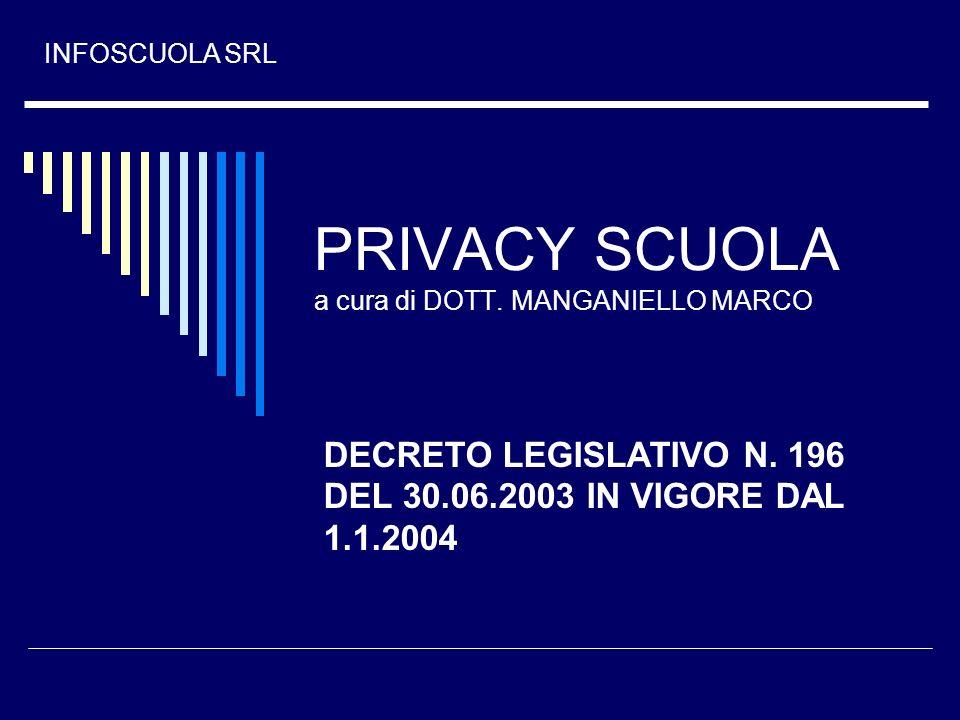 PRIVACY SCUOLA a cura di DOTT. MANGANIELLO MARCO DECRETO LEGISLATIVO N. 196 DEL 30.06.2003 IN VIGORE DAL 1.1.2004 INFOSCUOLA SRL