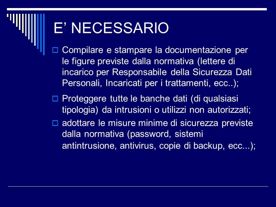 E NECESSARIO Compilare e stampare la documentazione per le figure previste dalla normativa (lettere di incarico per Responsabile della Sicurezza Dati
