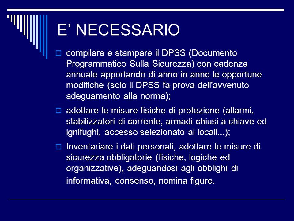 E NECESSARIO compilare e stampare il DPSS (Documento Programmatico Sulla Sicurezza) con cadenza annuale apportando di anno in anno le opportune modifi