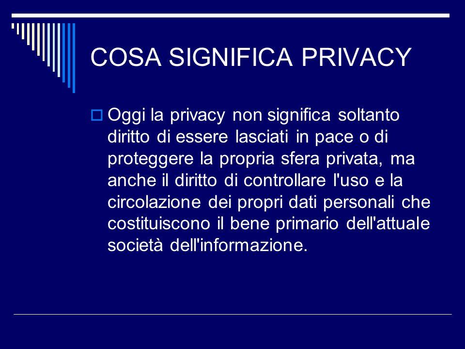 COSA SIGNIFICA PRIVACY Oggi la privacy non significa soltanto diritto di essere lasciati in pace o di proteggere la propria sfera privata, ma anche il