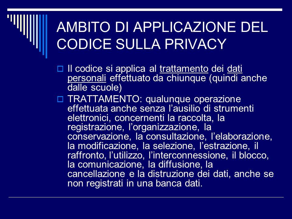 AMBITO DI APPLICAZIONE DEL CODICE SULLA PRIVACY Il codice si applica al trattamento dei dati personali effettuato da chiunque (quindi anche dalle scuo