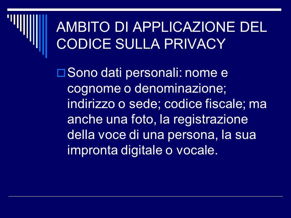 AMBITO DI APPLICAZIONE DEL CODICE SULLA PRIVACY Sono dati personali: nome e cognome o denominazione; indirizzo o sede; codice fiscale; ma anche una fo