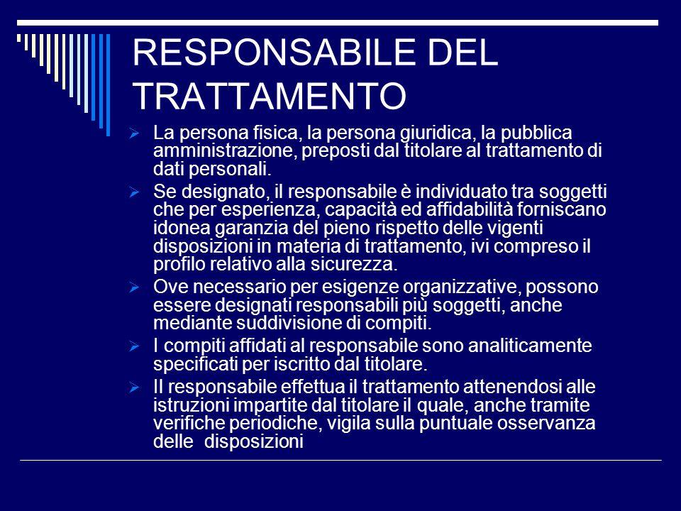 RESPONSABILE DEL TRATTAMENTO La persona fisica, la persona giuridica, la pubblica amministrazione, preposti dal titolare al trattamento di dati person