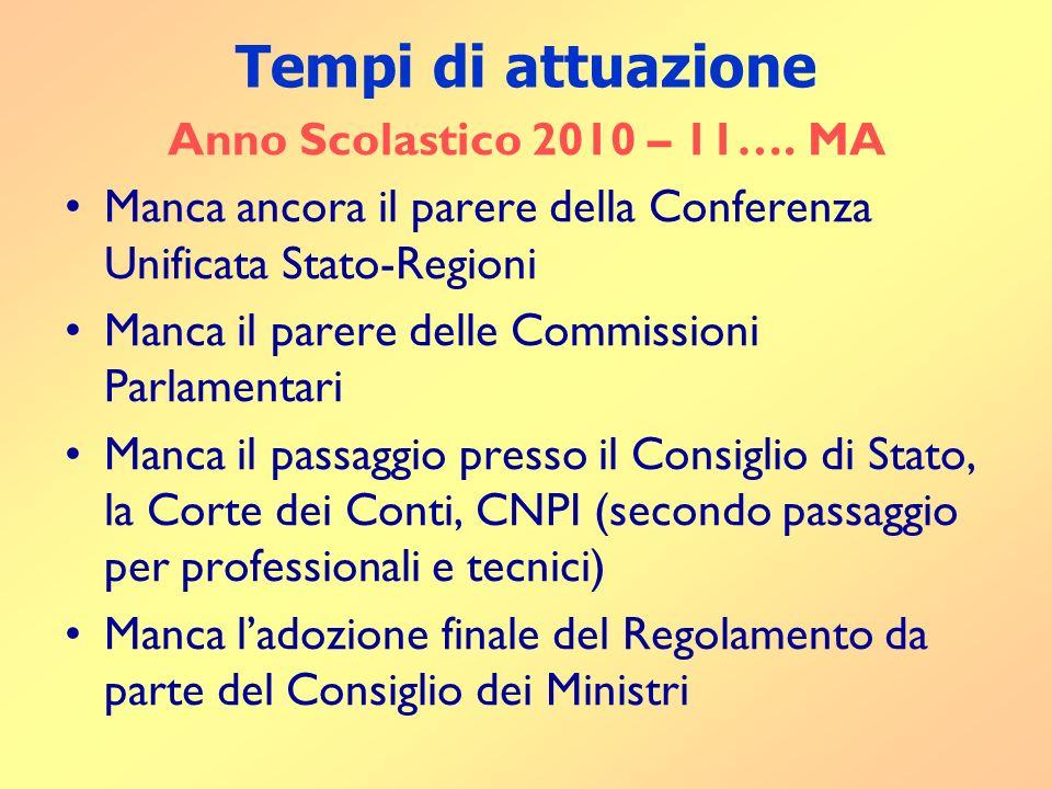 Tempi di attuazione Anno Scolastico 2010 – 11….