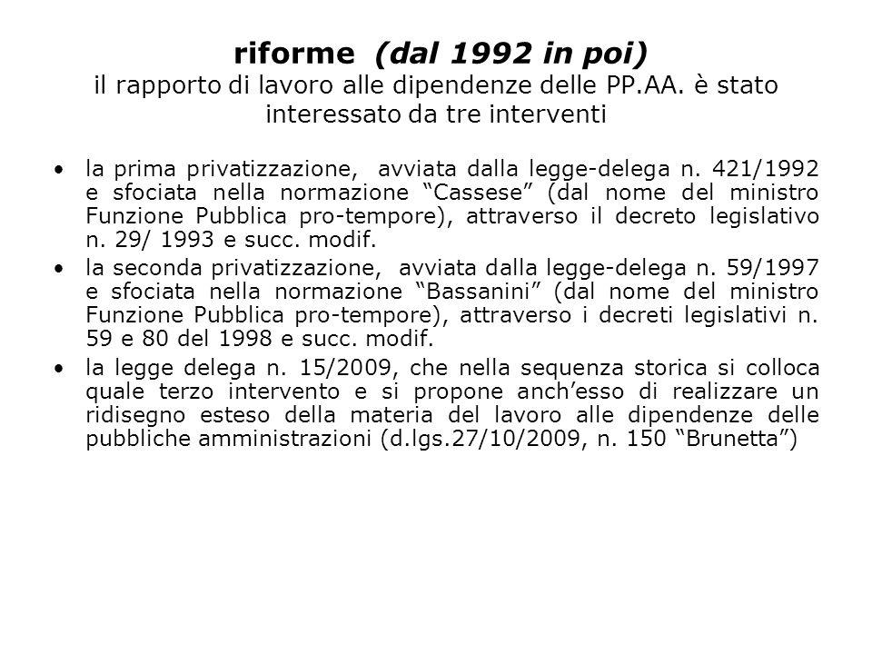 riforme (dal 1992 in poi) il rapporto di lavoro alle dipendenze delle PP.AA.