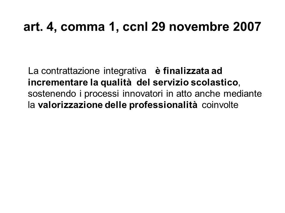 art. 4, comma 1, ccnl 29 novembre 2007 La contrattazione integrativa è finalizzata ad incrementare la qualità del servizio scolastico, sostenendo i pr