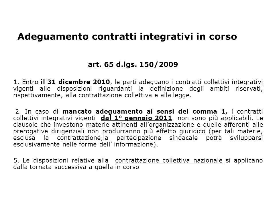 Adeguamento contratti integrativi in corso art. 65 d.lgs.