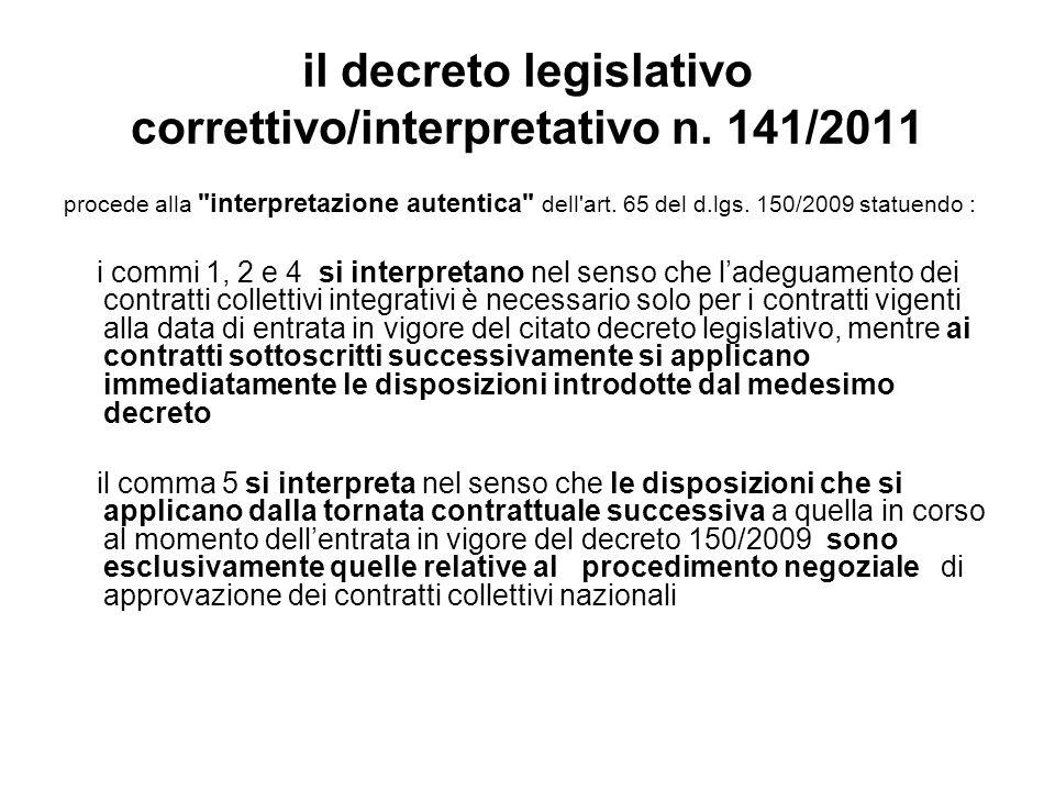 il decreto legislativo correttivo/interpretativo n.