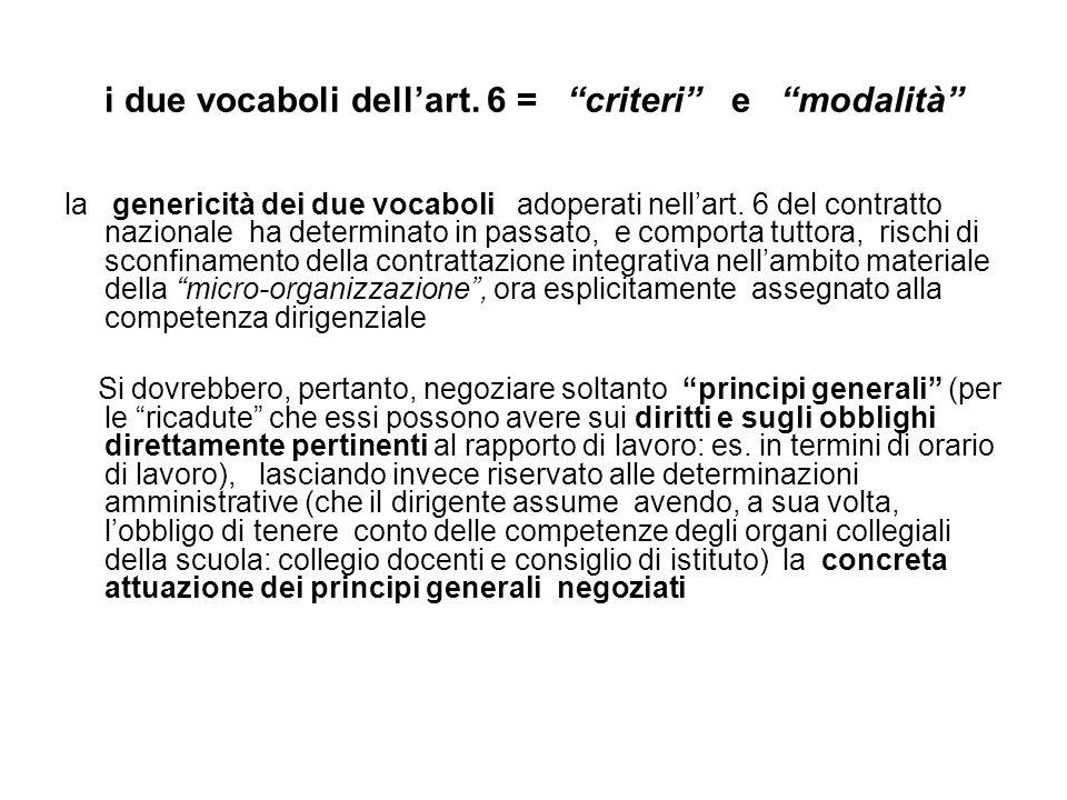 i due vocaboli dellart. 6 = criteri e modalità la genericità dei due vocaboli adoperati nellart.