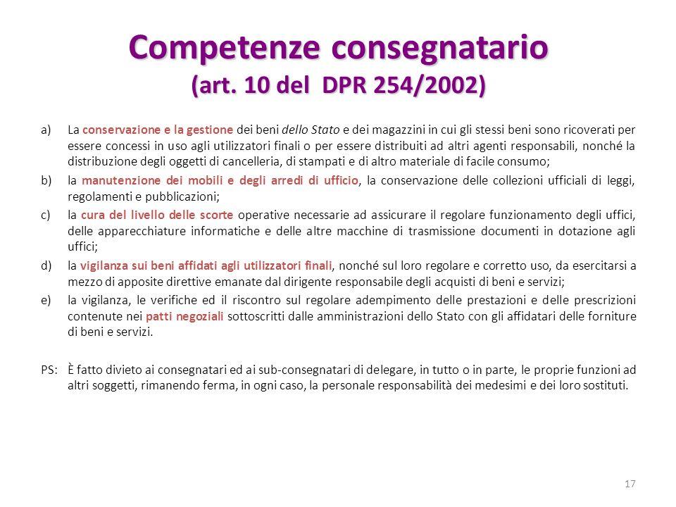 Competenze consegnatario (art. 10 del DPR 254/2002) a)La conservazione e la gestione dei beni dello Stato e dei magazzini in cui gli stessi beni sono