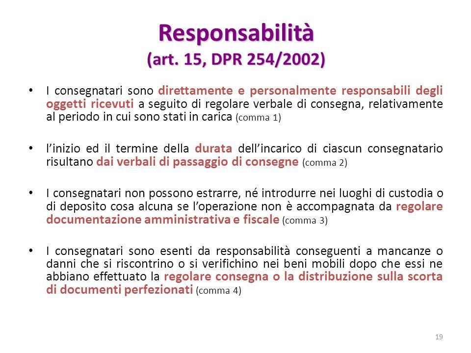 Responsabilità (art. 15, DPR 254/2002) I consegnatari sono direttamente e personalmente responsabili degli oggetti ricevuti a seguito di regolare verb