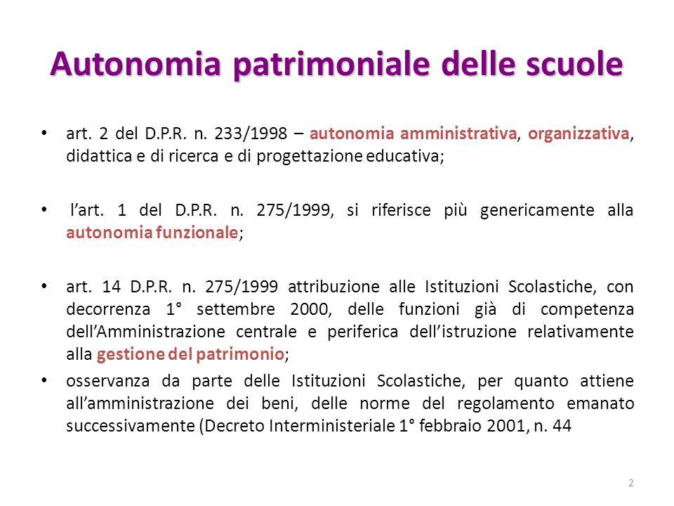 Autonomia patrimoniale delle scuole art. 2 del D.P.R. n. 233/1998 – autonomia amministrativa, organizzativa, didattica e di ricerca e di progettazione