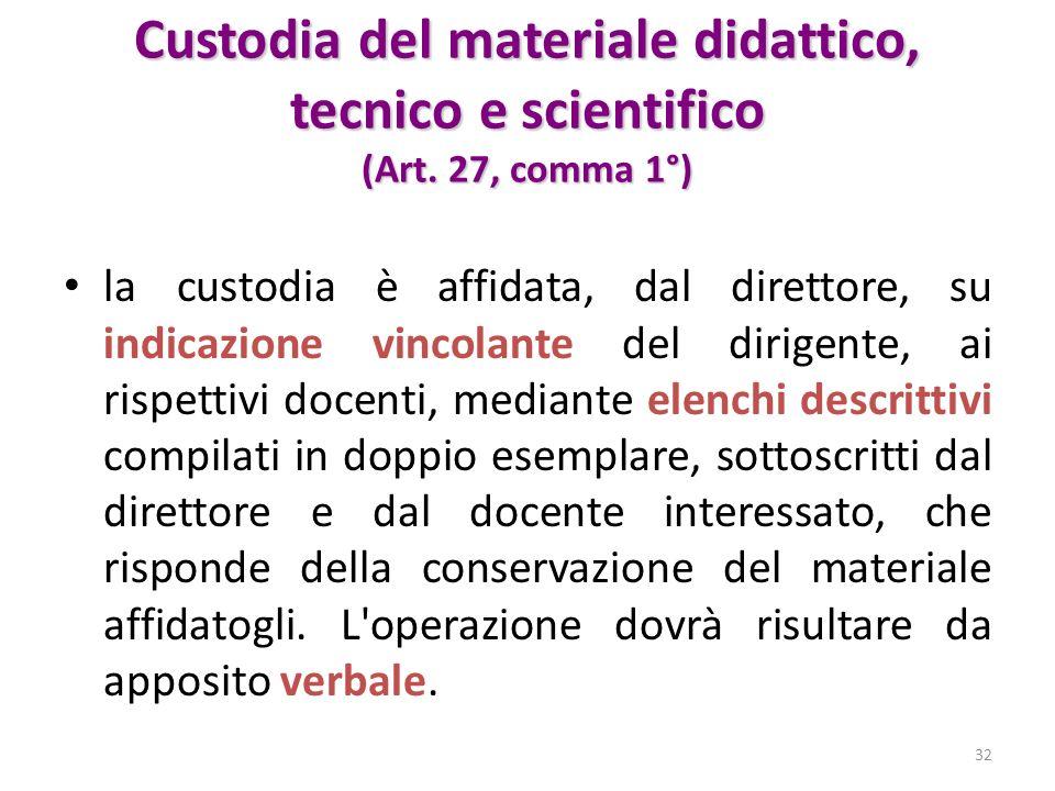 Custodia del materiale didattico, tecnico e scientifico (Art. 27, comma 1°) la custodia è affidata, dal direttore, su indicazione vincolante del dirig