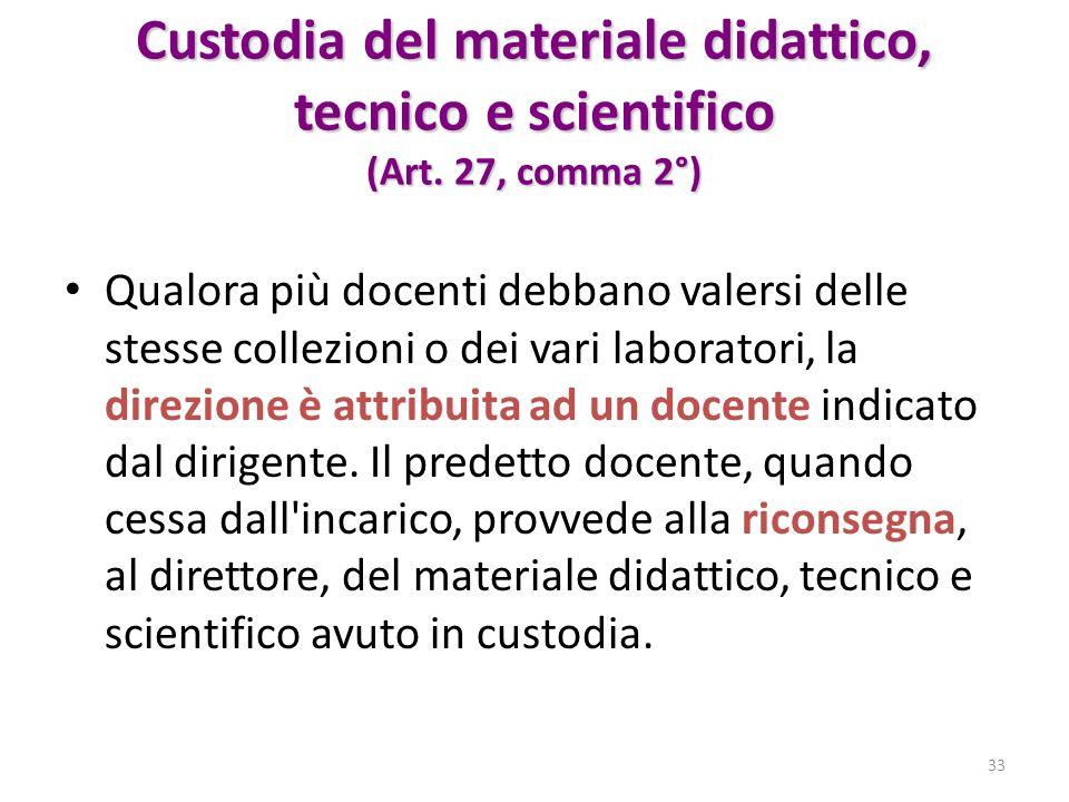 Custodia del materiale didattico, tecnico e scientifico (Art. 27, comma 2°) Qualora più docenti debbano valersi delle stesse collezioni o dei vari lab