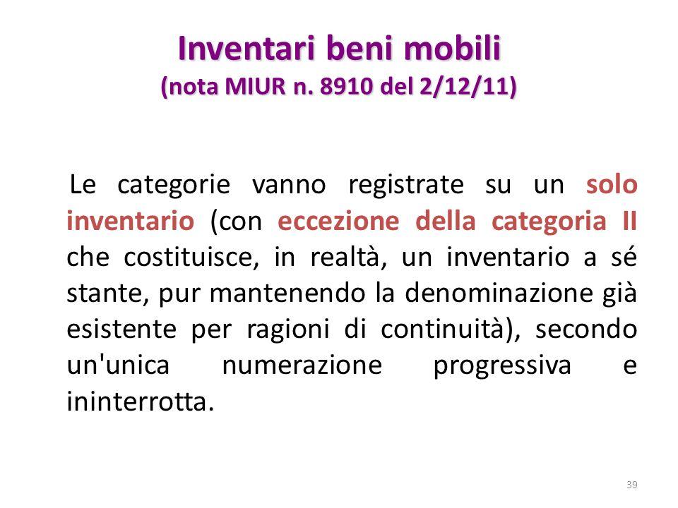Inventari beni mobili (nota MIUR n. 8910 del 2/12/11) Le categorie vanno registrate su un solo inventario (con eccezione della categoria II che costit