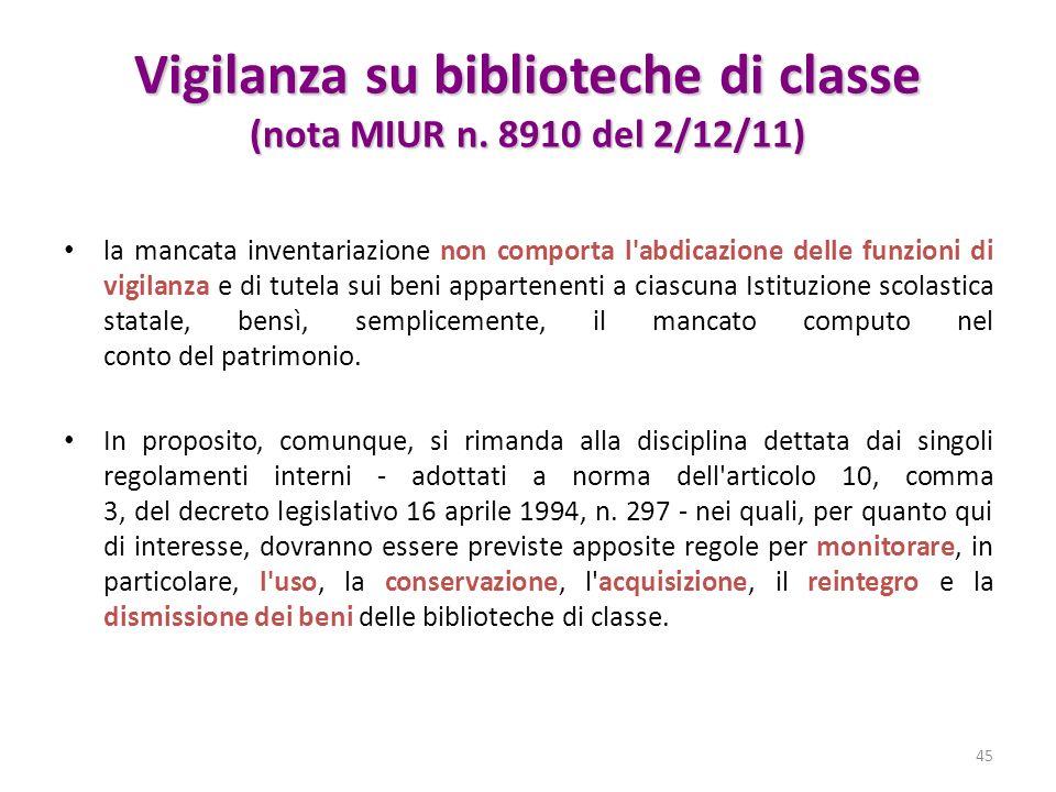 Vigilanza su biblioteche di classe (nota MIUR n. 8910 del 2/12/11) la mancata inventariazione non comporta l'abdicazione delle funzioni di vigilanza e