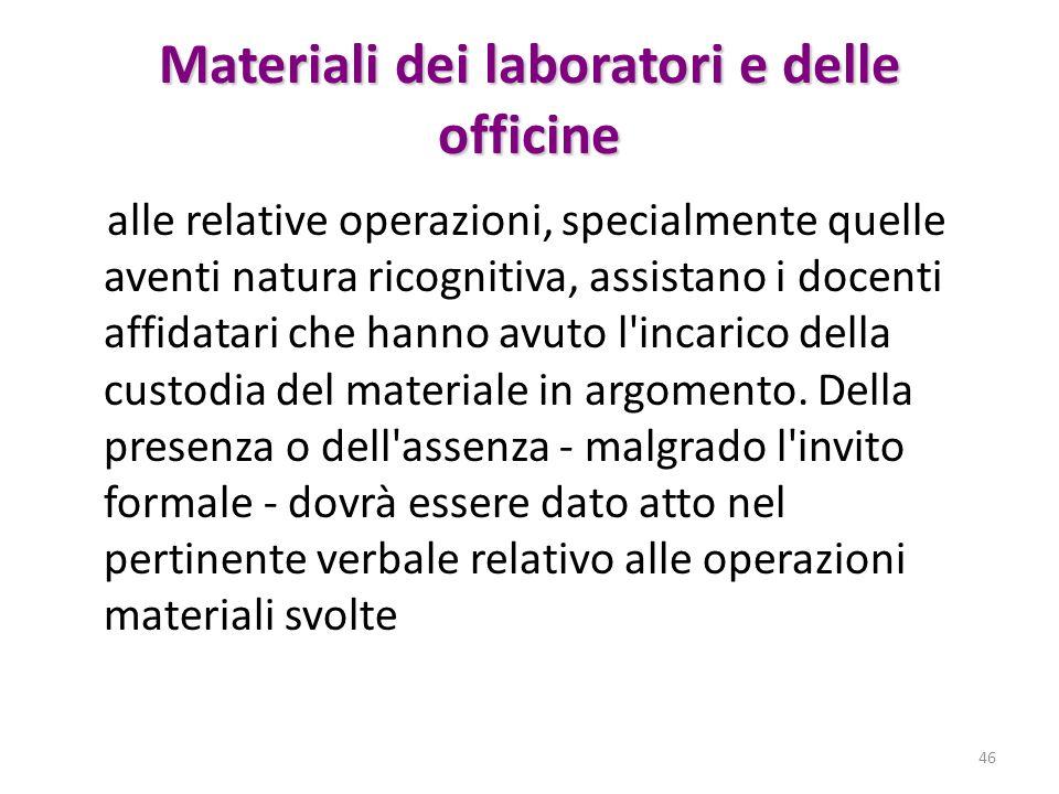 Materiali dei laboratori e delle officine alle relative operazioni, specialmente quelle aventi natura ricognitiva, assistano i docenti affidatari che