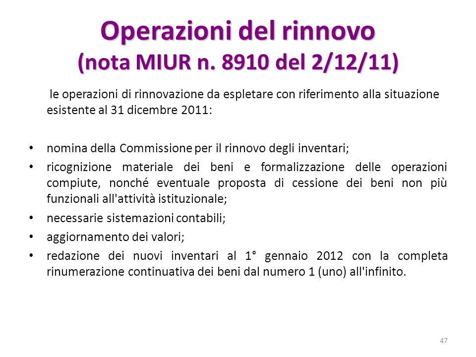 Operazioni del rinnovo (nota MIUR n. 8910 del 2/12/11) le operazioni di rinnovazione da espletare con riferimento alla situazione esistente al 31 dice