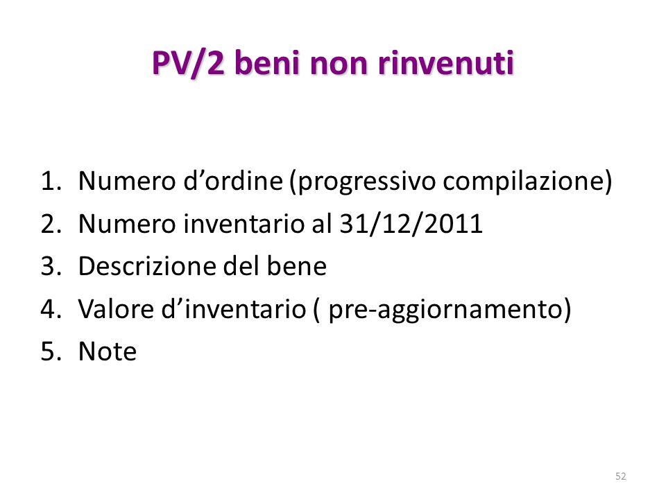 PV/2 beni non rinvenuti 1.Numero dordine (progressivo compilazione) 2.Numero inventario al 31/12/2011 3.Descrizione del bene 4.Valore dinventario ( pre-aggiornamento) 5.Note 52