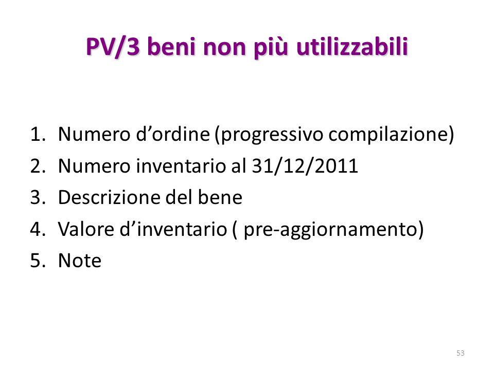 PV/3 beni non più utilizzabili 1.Numero dordine (progressivo compilazione) 2.Numero inventario al 31/12/2011 3.Descrizione del bene 4.Valore dinventar
