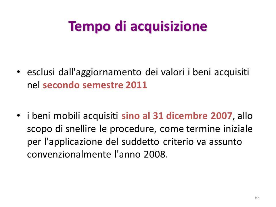 Tempo di acquisizione esclusi dall'aggiornamento dei valori i beni acquisiti nel secondo semestre 2011 i beni mobili acquisiti sino al 31 dicembre 200