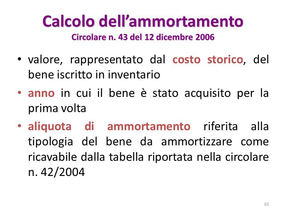 Calcolo dellammortamento Circolare n. 43 del 12 dicembre 2006 valore, rappresentato dal costo storico, del bene iscritto in inventario anno in cui il