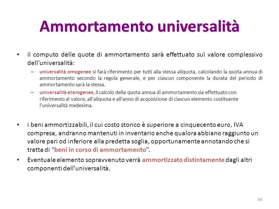 Ammortamento universalità il computo delle quote di ammortamento sarà effettuato sul valore complessivo delluniversalità: – universalità omogenee si f