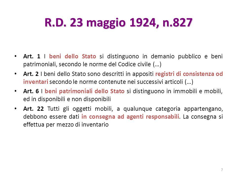 R.D. 23 maggio 1924, n.827 Art. 1 I beni dello Stato si distinguono in demanio pubblico e beni patrimoniali, secondo le norme del Codice civile (…) Ar