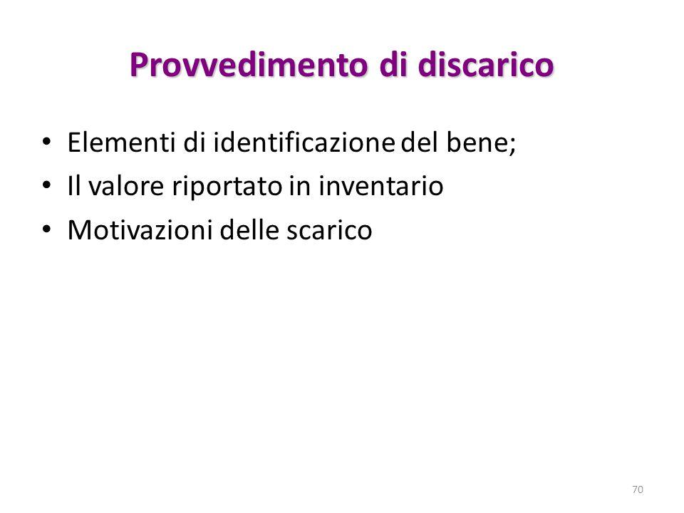 Provvedimento di discarico Elementi di identificazione del bene; Il valore riportato in inventario Motivazioni delle scarico 70