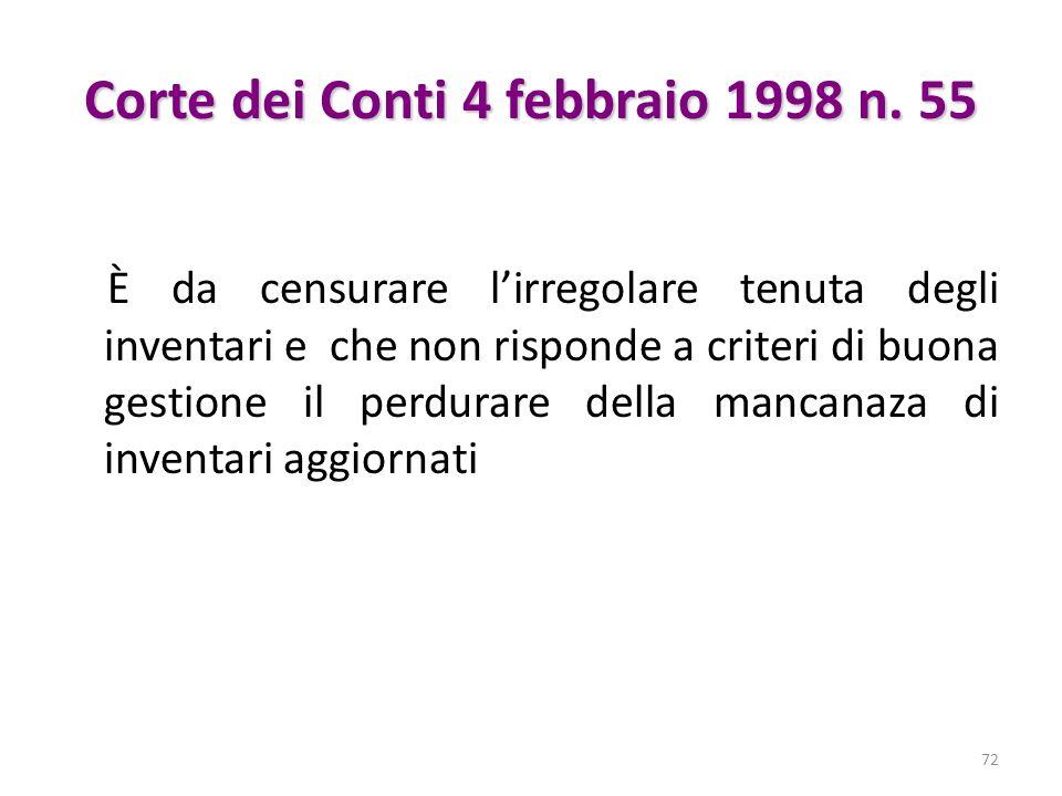 Corte dei Conti 4 febbraio 1998 n. 55 È da censurare lirregolare tenuta degli inventari e che non risponde a criteri di buona gestione il perdurare de