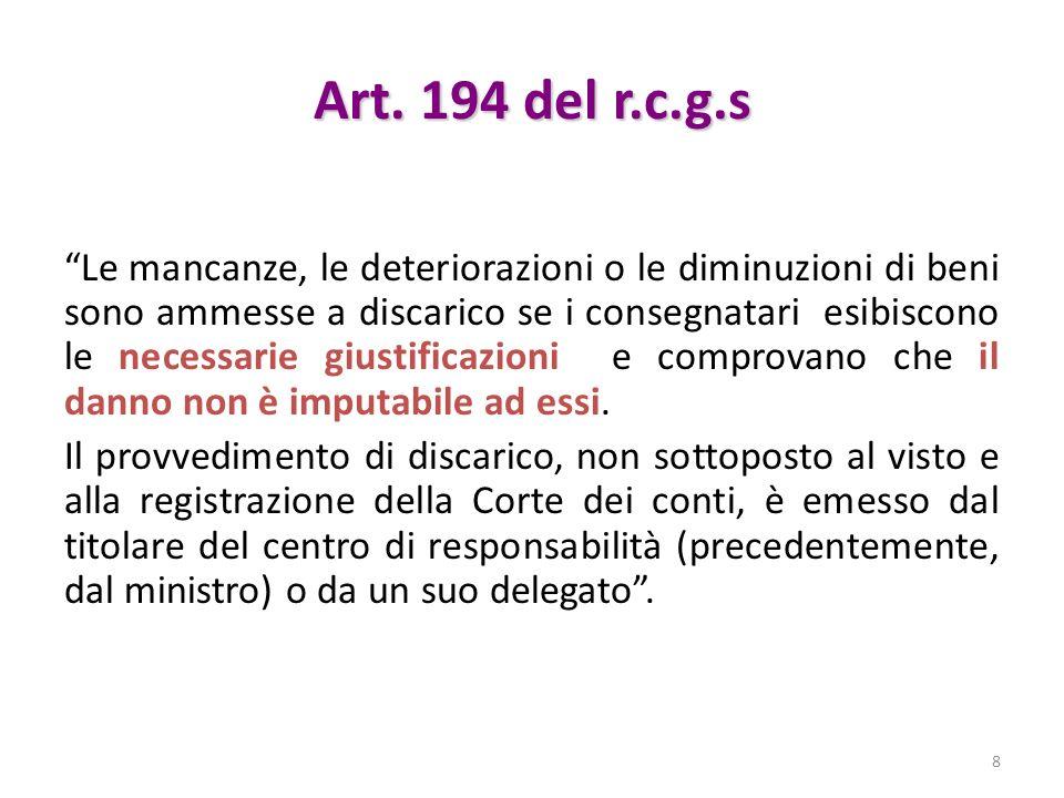 Art. 194 del r.c.g.s Le mancanze, le deteriorazioni o le diminuzioni di beni sono ammesse a discarico se i consegnatari esibiscono le necessarie giust