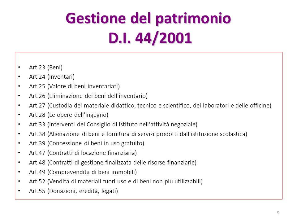 Gestione del patrimonio D.I. 44/2001 Art.23 (Beni) Art.24 (Inventari) Art.25 (Valore di beni inventariati) Art.26 (Eliminazione dei beni dell'inventar