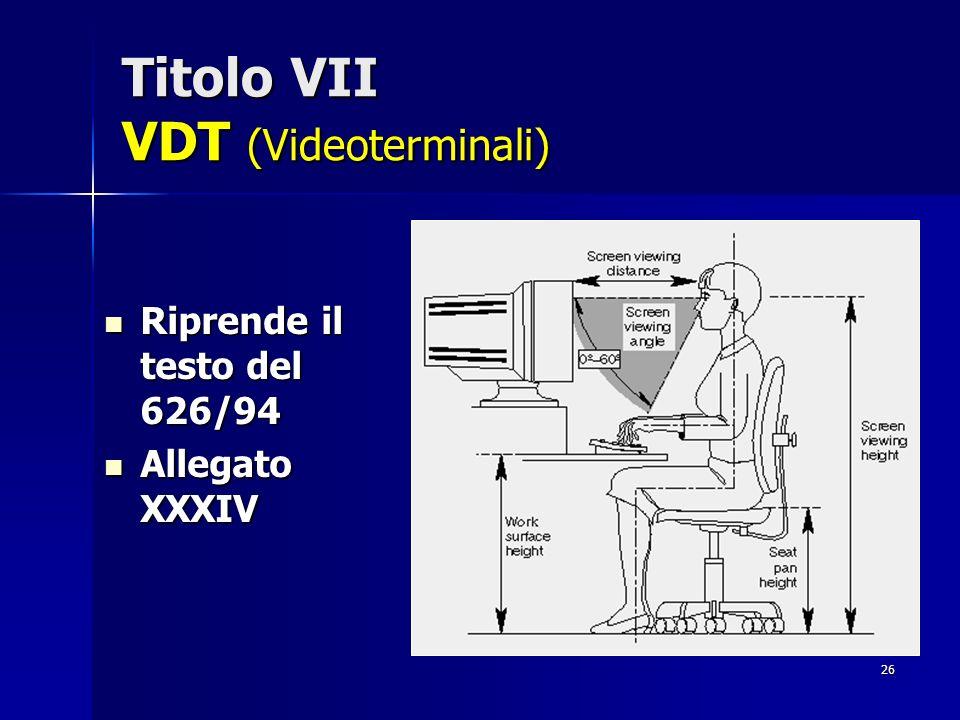 26 Titolo VII VDT (Videoterminali) Riprende il testo del 626/94 Riprende il testo del 626/94 Allegato XXXIV Allegato XXXIV