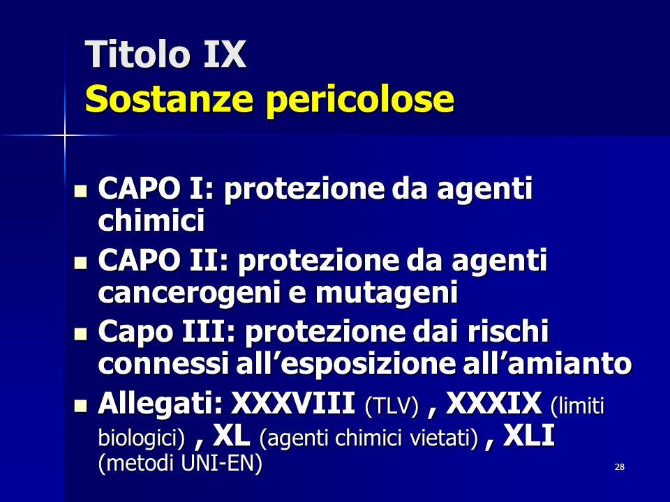 28 Titolo IX Sostanze pericolose CAPO I: protezione da agenti chimici CAPO I: protezione da agenti chimici CAPO II: protezione da agenti cancerogeni e