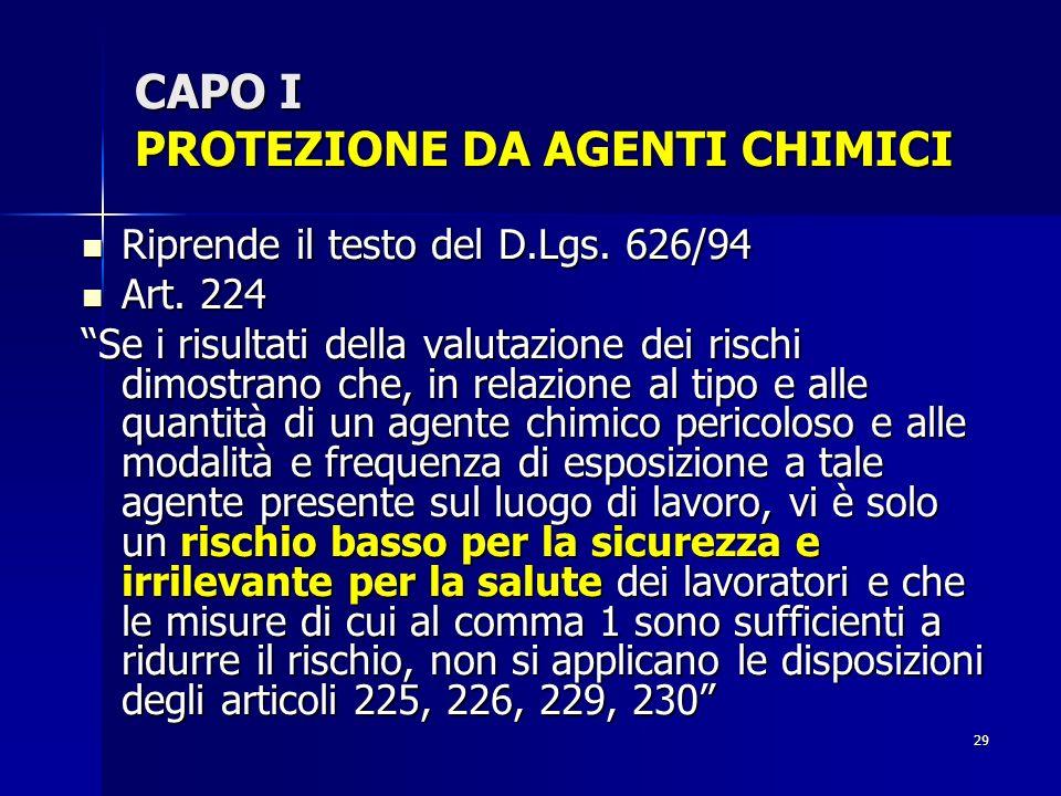 29 CAPO I PROTEZIONE DA AGENTI CHIMICI Riprende il testo del D.Lgs. 626/94 Riprende il testo del D.Lgs. 626/94 Art. 224 Art. 224 Se i risultati della