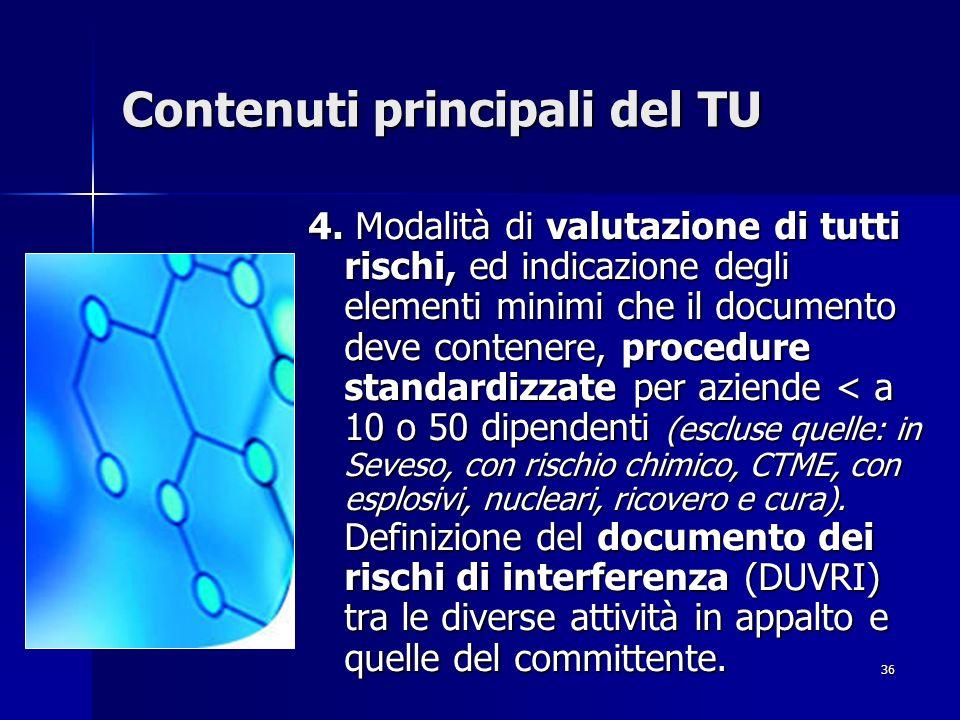 36 Contenuti principali del TU 4. Modalità di valutazione di tutti rischi, ed indicazione degli elementi minimi che il documento deve contenere, proce