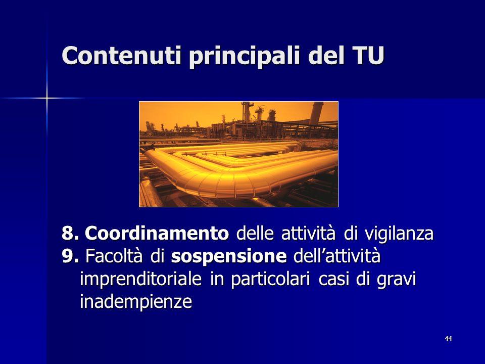 44 Contenuti principali del TU 8. Coordinamento delle attività di vigilanza 9. Facoltà di sospensione dellattività imprenditoriale in particolari casi