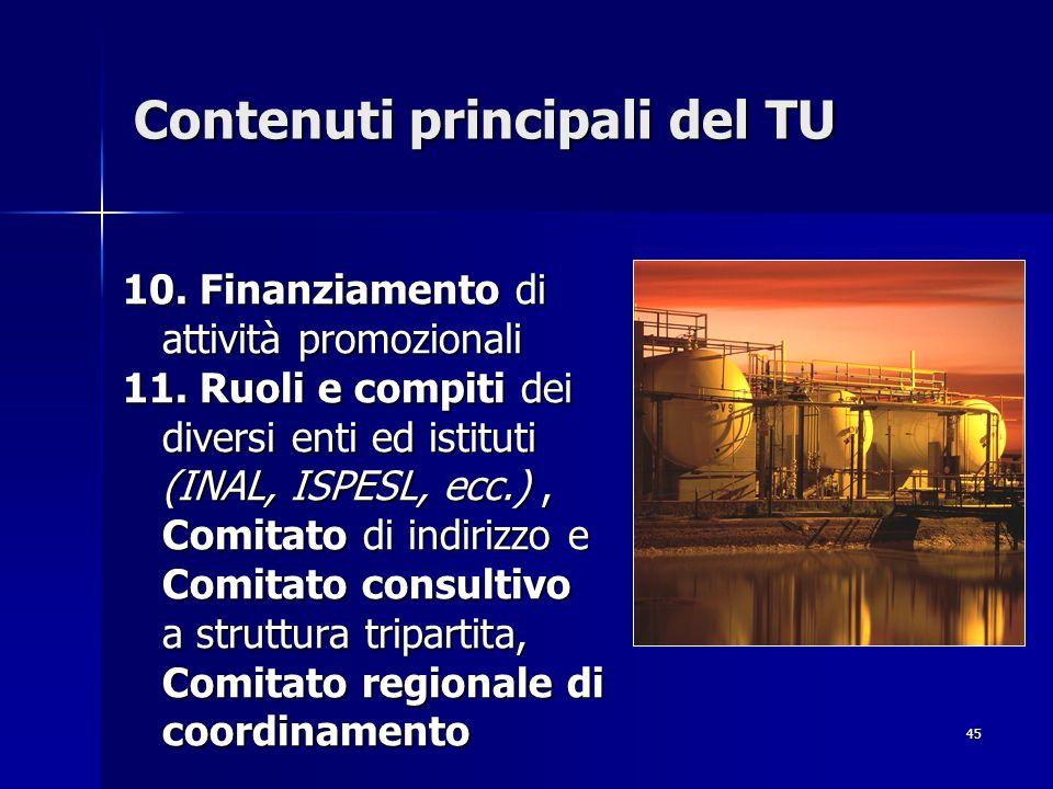 45 Contenuti principali del TU 10. Finanziamento di attività promozionali 11. Ruoli e compiti dei diversi enti ed istituti (INAL, ISPESL, ecc.), Comit