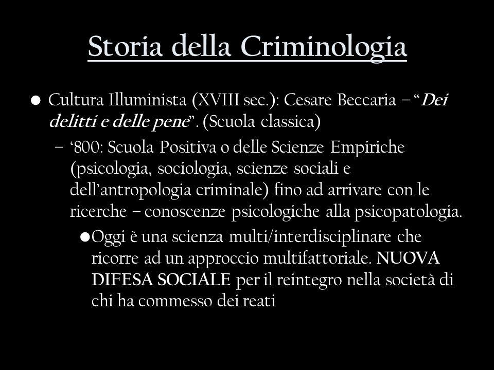 Storia della Criminologia Cultura Illuminista (XVIII sec.): Cesare Beccaria – Dei delitti e delle pene. (Scuola classica) –800: Scuola Positiva o dell