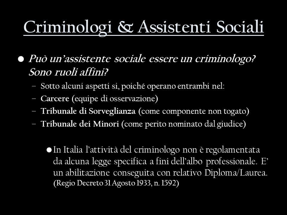 Criminologi & Assistenti Sociali Può unassistente sociale essere un criminologo? Sono ruoli affini? –Sotto alcuni aspetti si, poiché operano entrambi