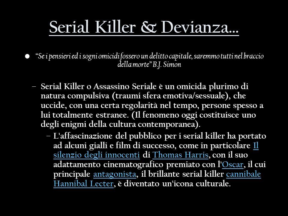 Serial Killer & Devianza… Se i pensieri ed i sogni omicidi fossero un delitto capitale, saremmo tutti nel braccio della morte B.J. Simon – Serial Kill