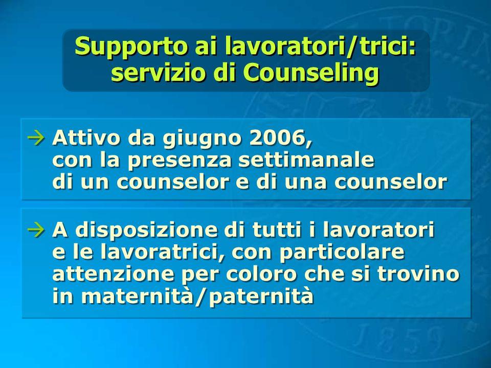 Supporto ai lavoratori/trici: servizio di Counseling Supporto ai lavoratori/trici: servizio di Counseling Attivo da giugno 2006, con la presenza setti