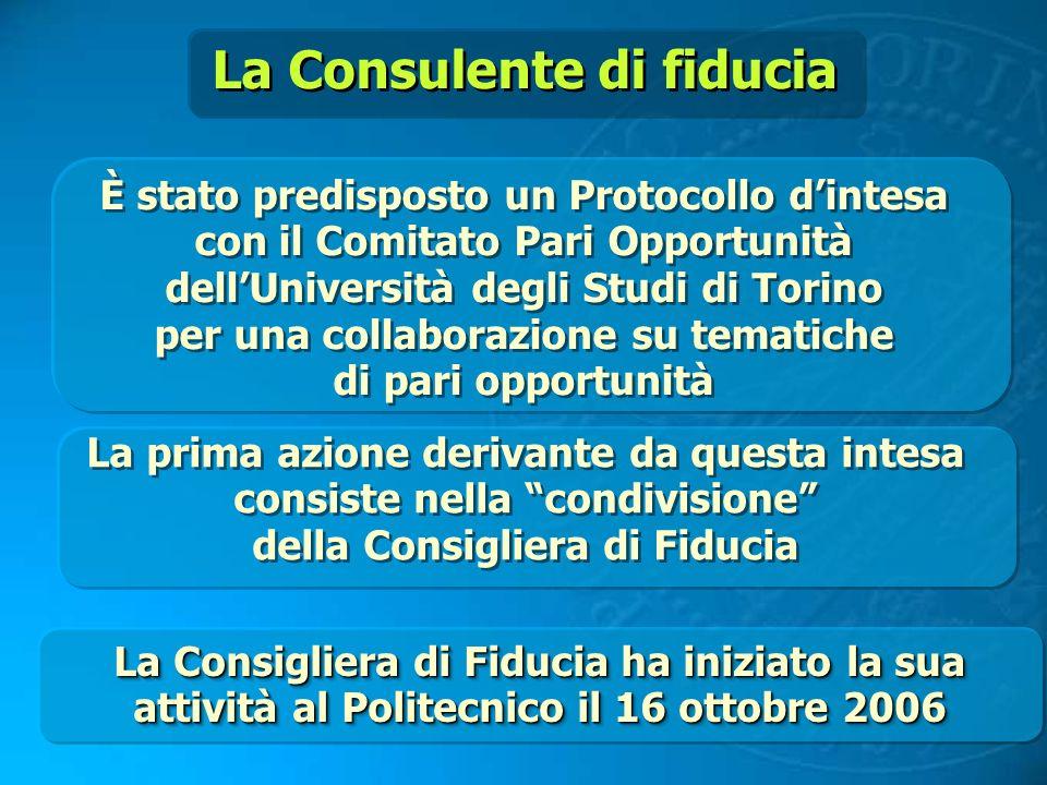 La Consulente di fiducia È stato predisposto un Protocollo dintesa con il Comitato Pari Opportunità dellUniversità degli Studi di Torino per una colla